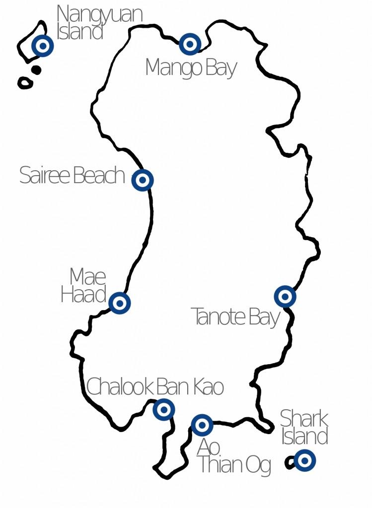 Mappa di Koh Tao